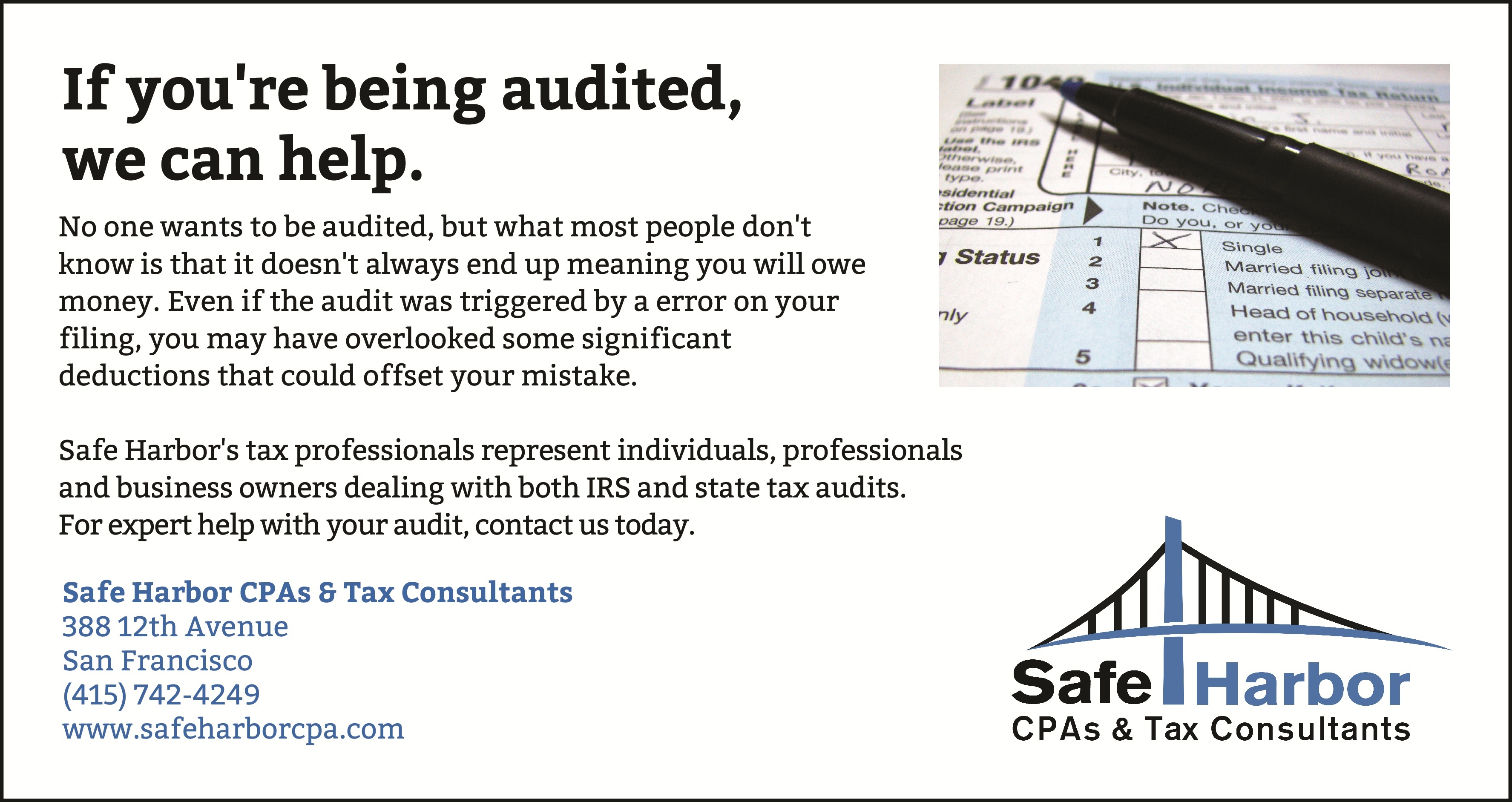 Tax Audit in San Francisco - Help from the CPAs at Safe Harbor